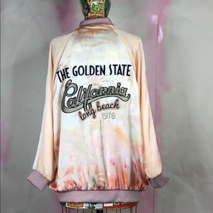 Zara Patch Bomber Long Beach Tie Dye Golden State